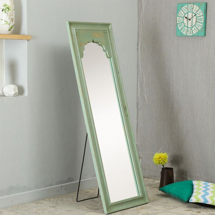 Buy Solid Minaret Mirror In Olive Green Wooden Decorative Wall Mirror Online Full Length Mirrors Wall Accents Home Decor