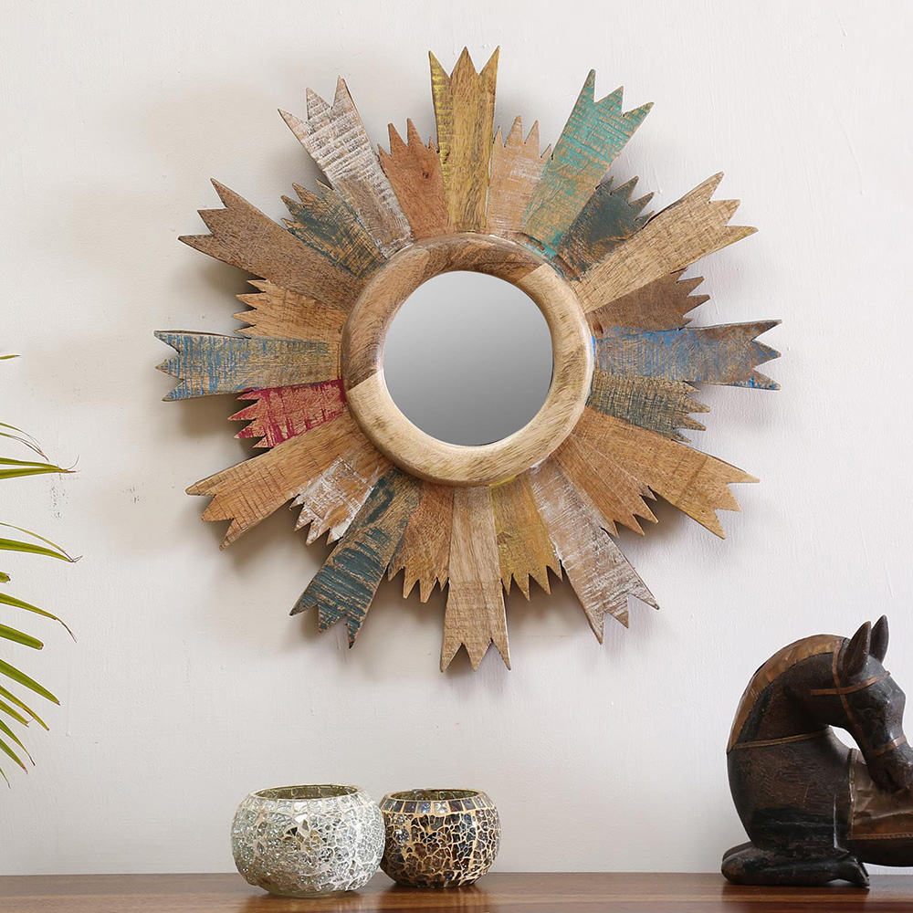 Cartwheel mirror frame
